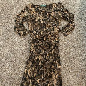 Snake printed faux wrap Midi Dress